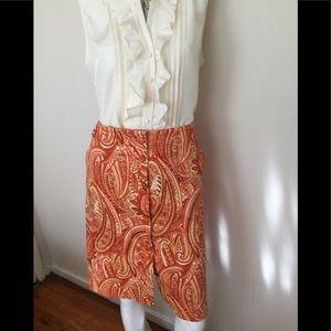 Talbots orange paisley cotton skirt w/pockets